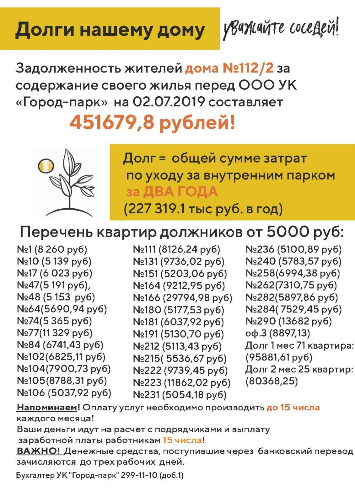 Вниманию должников дома 112/2 по ул.1-я Чулымская