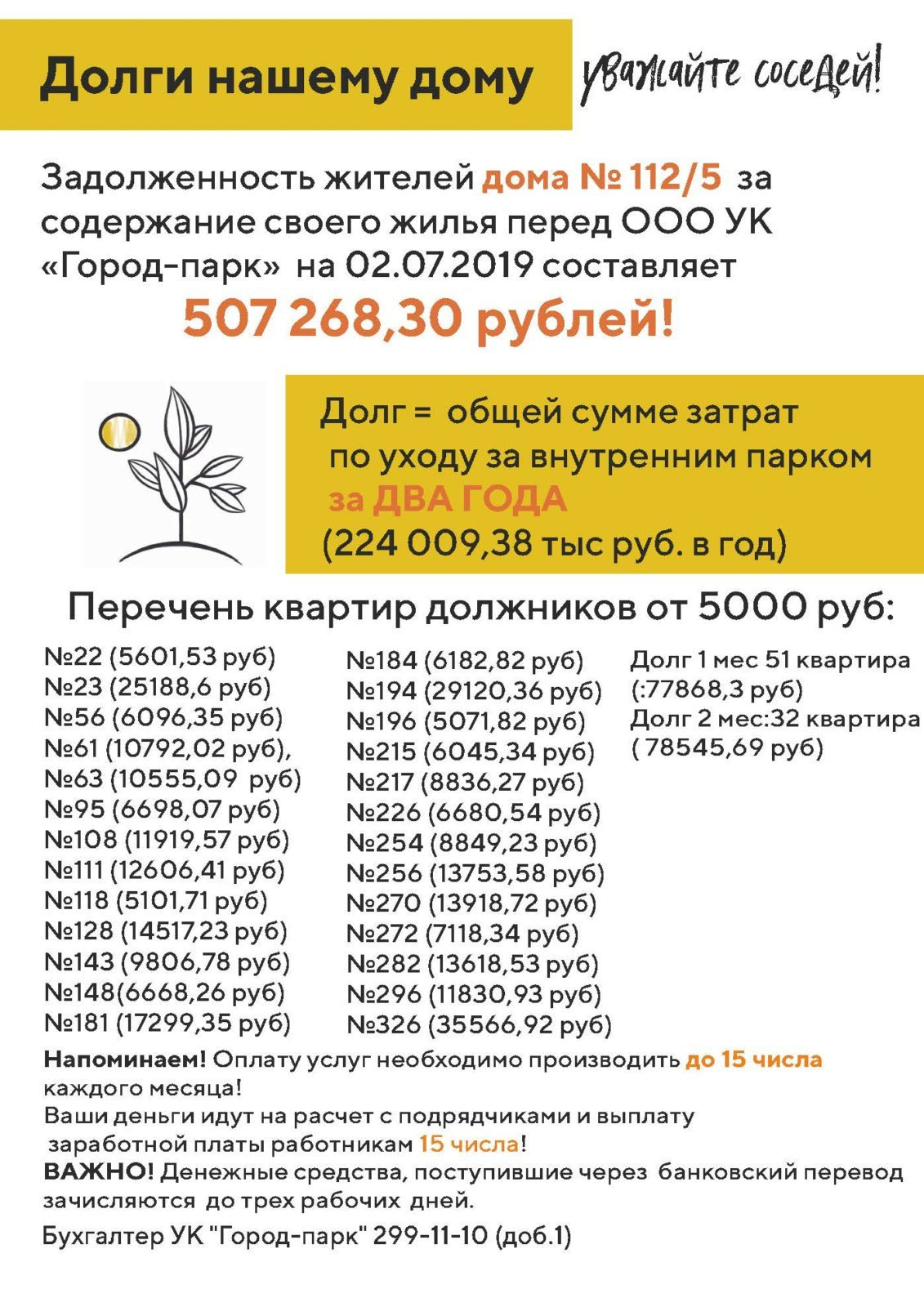 Вниманию должников дома 112/5 по ул.1-я Чулымская